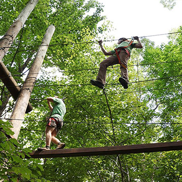 Two Adults demonstrating Zip line climbing